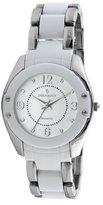 Peugeot Women's 7071WT Acrylic Link Silver-tone White Watch