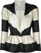 Carolina Herrera striped jacquard jacket - women - Silk/Polyester - 4