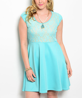 Mint Lace Cap-Sleeve Fit & Flare Dress - Plus