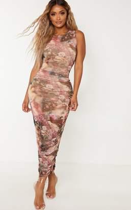 PrettyLittleThing Shape Nude Renaissance Print Sleeveless Midi Dress