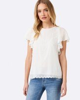 Forever New Lizzie Ruffle Embroidered Top