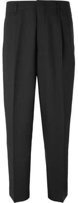 Ami Black Slim-Fit Pleated Virgin Wool-Twill Trousers