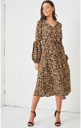 Love Frontrow Leopard Print Long Sleeve Midi Dress | Brown