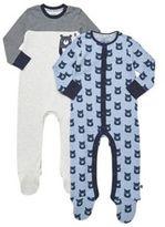 F&F 2 Pack of Bear Face Sleepsuits, Newborn Boy's