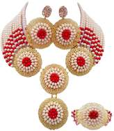 laanc 4 Row Necklace 4 Brooch Multicolor Crystal African Beads Nigerian Wedding Bridal Women Jewelry Sets
