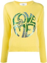Alberta Ferretti long sleeve sequin-embellished logo pullover