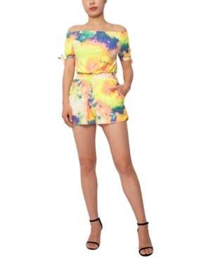 Derek Heart Juniors' Tie-Dye Off-The-Shoulder Tie-Sleeve Romper