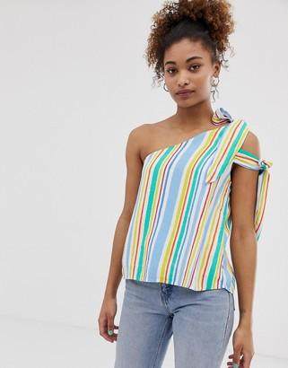 Pepe Jeans Luna stripe asymmetric sleeve top