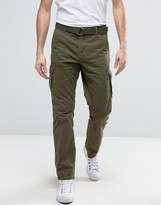 Solid Cargo Pants With Belt