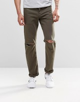 Asos Stretch Slim Jeans In Khaki With Knee Rips