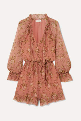 Zimmermann Espionage Frilled Floral-print Silk-crepon Playsuit - Peach