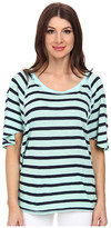 Michael Stars Traveler Stripe Elbow Sleeve Wedge Scoop Neck Top