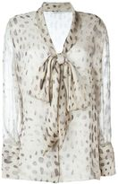 Agnona sheer printed pussy bow blouse