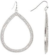 Rivka Friedman White Rhodium Clad Pave Simulated Diamond Open Teardrop Dangle Earrings