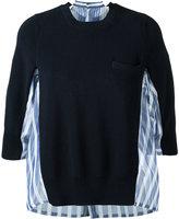 Sacai stripe panel jumper - women - Cotton/Silk/Polyester - 1