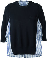 Sacai stripe panel jumper - women - Silk/Cotton/Polyester - 1