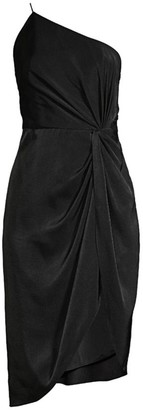 Aidan Mattox Draped One-Shoulder Cocktail Dress