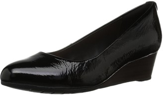 Clarks Women's Vendra Bloom Wedge Pump Black Patent Leather 6 B(M) US