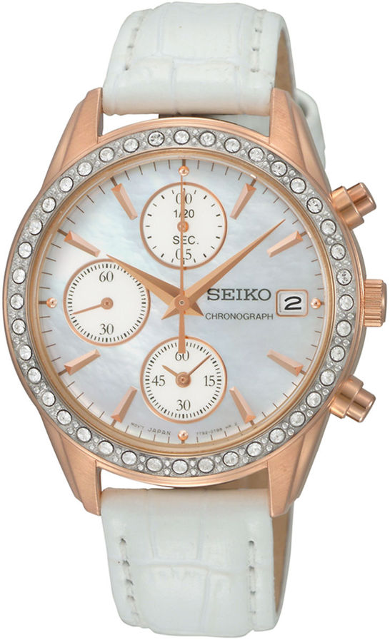 Seiko Ladies Rose Gold-Tone Crystal & Leather Chronograph Watch
