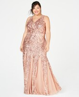 Thumbnail for your product : Nightway Plus Size Sequined Mesh Gown