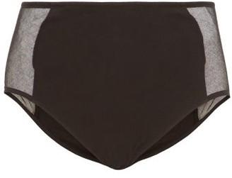 Skin Odette Tulle-panel Cotton-blend Briefs - Black