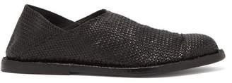 Ann Demeulemeester Woven Collapsible-back Leather Loafers - Womens - Black