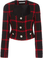 Alessandra Rich Cropped Checked Tweed Jacket