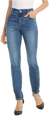 INC International Concepts Inc Petite Cascade Rhinestone Ankle Skinny Jeans
