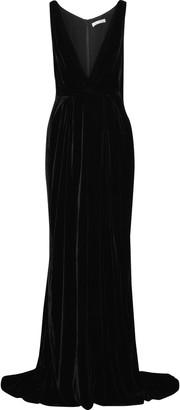 Oscar de la Renta Cape-effect Velvet Gown