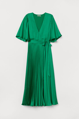 H&M Pleated Satin Dress