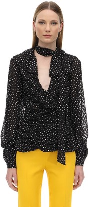 Marianna Senchina RUFFLED POLKA DOT CHIFFON SHIRT