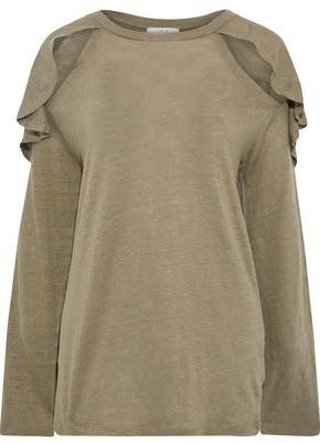 IRO Cutout Ruffled Slub Linen-jersey Top