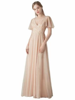 Ever Pretty Ever-Pretty Women's Short Sleeve V Neck Elegant Empire Waist A Line Bridesmaid Dresses with Appliques Blush 8UK