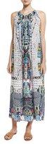 Camilla Printed Silk Crepe Halter Maxi Dress, Maasai Mosh