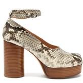 Maison Margiela Tabi Split-toe Snake-print Leather Pumps - Womens - Black White