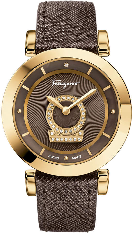 Salvatore Ferragamo 36mm Minuetto Rose IP Diamond-Dial Watch with Brown Leather Strap