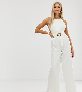 ASOS DESIGN Tall minimal arm hole wide leg jumpsuit with buckle detail