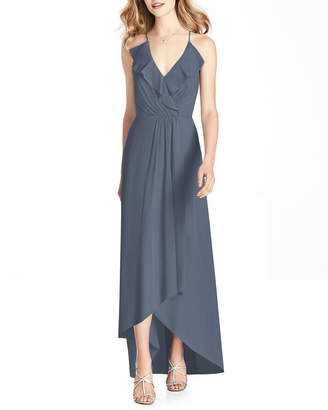 Jenny Packham Bridesmaids V-Neck Cross-Back High-Low Chiffon Bridesmaid Dress w/ Ruffle-Trim