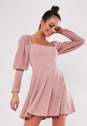 Missguided Blush Puff Sleeve Milkmaid Corset Skater Dress