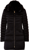 Peuterey Quilted Down Cristals Coat with Fox Fur Collar in Black