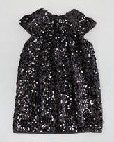 Milly Minis Daisy Cap-Sleeve Sequin Dress, Black, Sizes 2-6