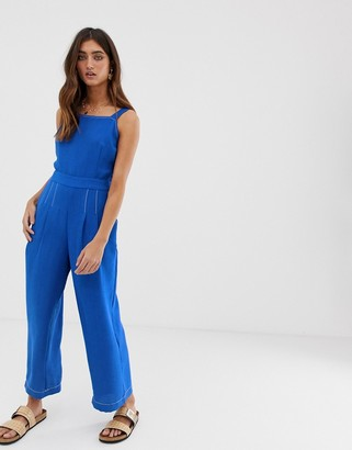 Moon River overall jumpsuit with wrap front and tie back-Blue