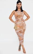 Passiond Shape Nude Oriental Print Sleeveless Midi Dress