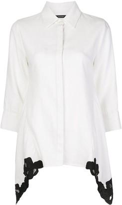 Natori Lace-Detail Point Collar Shirt