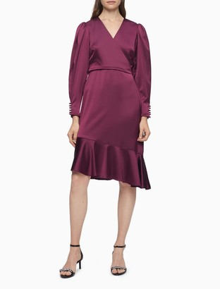 Calvin Klein V-Neck Wrap Long Sleeve Asymmetric Flutter Dress