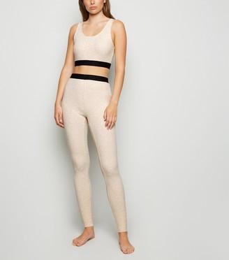 New Look Brushed Jersey Jacquard Elastic Leggings