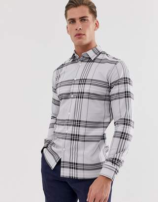 Selected smart check shirt in slim fit-Grey