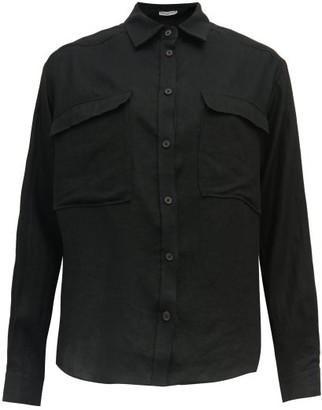 Three Graces London Willow Patch-pocket Linen Shirt - Black