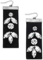 Thalia Sodi Silver-Tone Crystal Black Velvet Drop Earrings, Created for Macy's