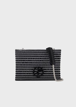 Giorgio Armani Satin Shoulder Bag With Baguette-Cut Rhinestone Embroidery